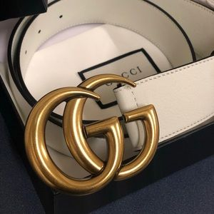 fe818ebb13b New Gucci Gold Double G Buckle White Leather Belt